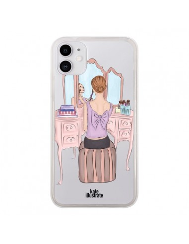 Coque iPhone 11 Vanity Coiffeuse Make Up Transparente - kateillustrate