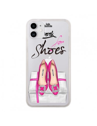 Coque iPhone 11 I Work For Shoes Chaussures Transparente - kateillustrate