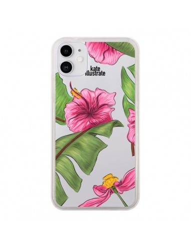 Coque iPhone 11 Tropical Leaves Fleurs Feuilles Transparente - kateillustrate