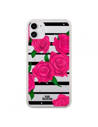 Coque iPhone 11 Roses Rose Fleurs Flowers Transparente - kateillustrate