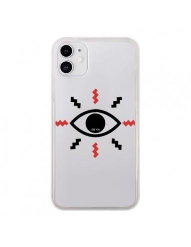 Coque iPhone 11 Eye I See You Oeil Transparente - Koura-Rosy Kane