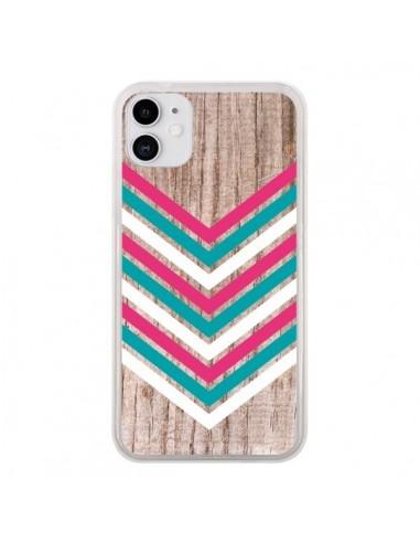 Coque iPhone 11 Tribal Aztèque Bois Wood Flèche Rose Bleu - Laetitia