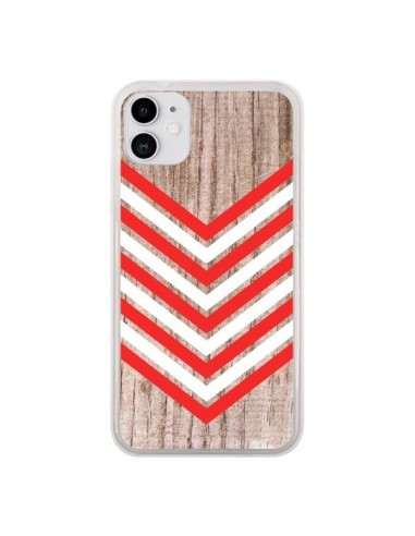 Coque iPhone 11 Tribal Aztèque Bois Wood Flèche Rouge Blanc - Laetitia