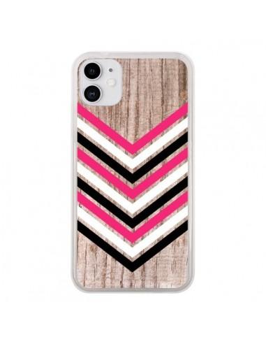 Coque iPhone 11 Tribal Aztèque Bois Wood Flèche Rose Blanc Noir - Laetitia