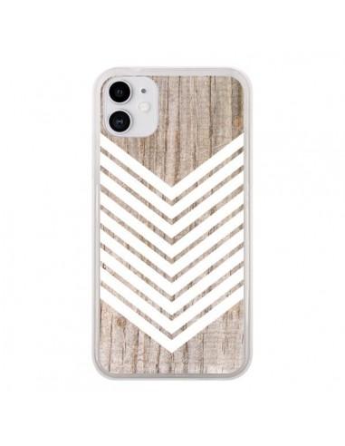 Coque iPhone 11 Tribal Aztèque Bois Wood Flèche Blanc - Laetitia