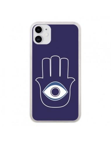 Coque iPhone 11 Main de Fatma Oeil Bleu - Laetitia