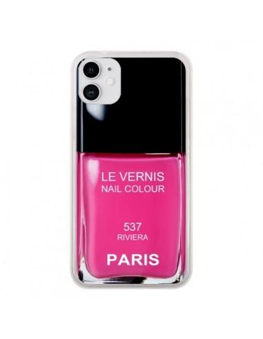 Coque iPhone 11 Vernis Paris Riviera Rose - Laetitia