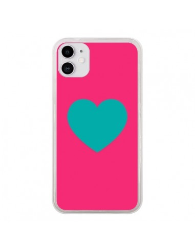 Coque iPhone 11 Coeur Bleu Fond Rose - Laetitia
