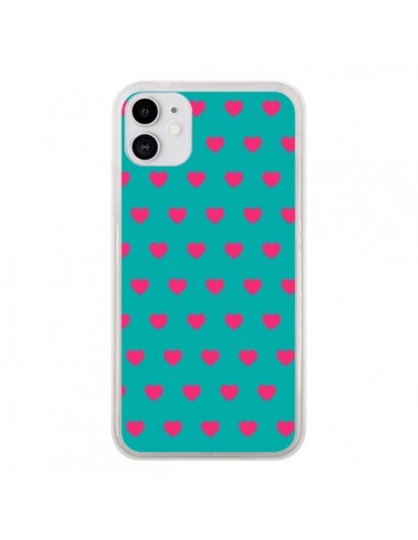 Coque iPhone 11 Coeurs Roses Fond Bleu - Laetitia