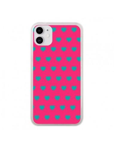 Coque iPhone 11 Coeurs Bleus Fond Rose - Laetitia
