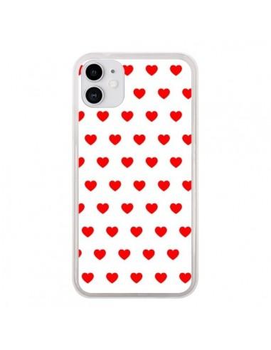 Coque iPhone 11 Coeurs Rouges Fond Blanc - Laetitia