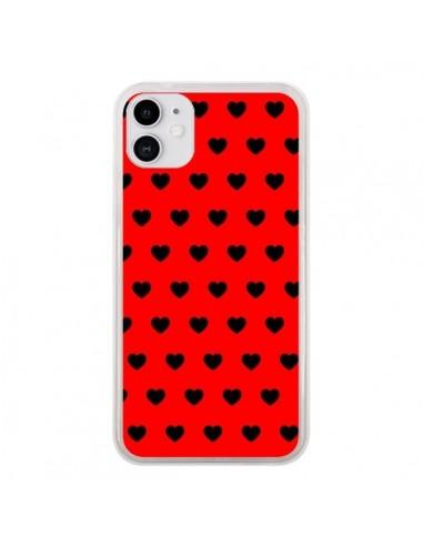 Coque iPhone 11 Coeurs Noirs Fond Rouge - Laetitia