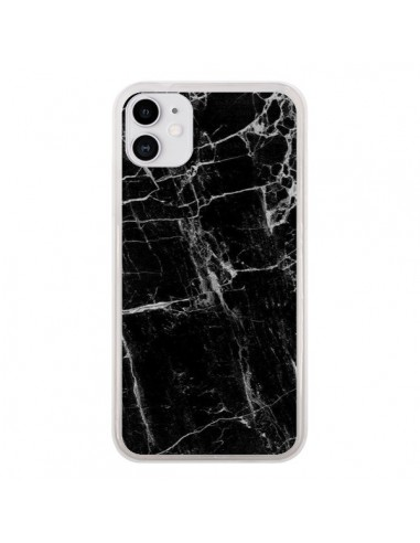 Coque iPhone 11 Marbre Marble Noir Black - Laetitia