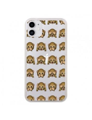 Coque iPhone 11 Singe Monkey Emoticone Emoji Transparente - Laetitia