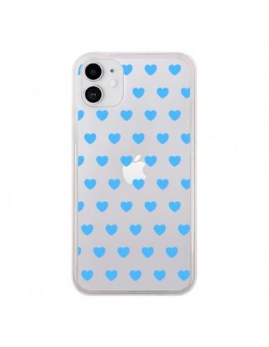 Coque iPhone 11 Coeur Heart Love Amour Bleu Transparente - Laetitia