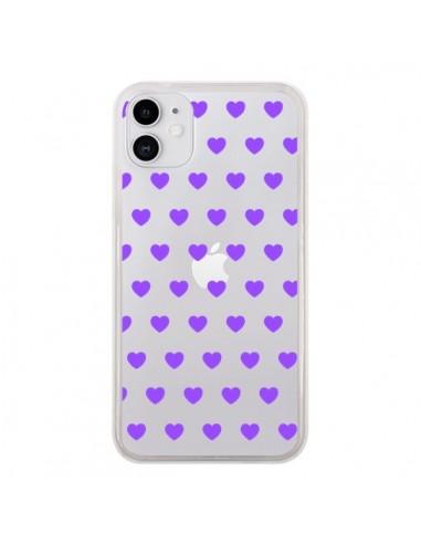 Coque iPhone 11 Coeur Heart Love Amour Violet Transparente - Laetitia