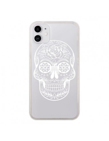 Coque iPhone 11 Tête de Mort Mexicaine Blanche Transparente - Laetitia