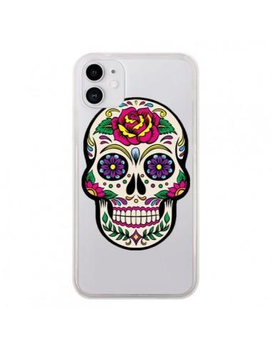 Coque iPhone 11 Tête de Mort Mexicaine Fleurs Transparente - Laetitia