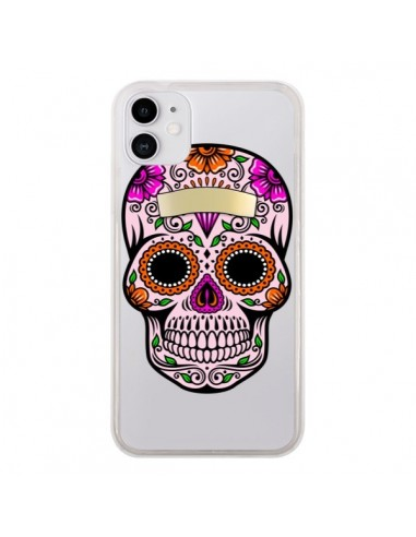 Coque iPhone 11 Tête de Mort Mexicaine Noir Rose Transparente - Laetitia
