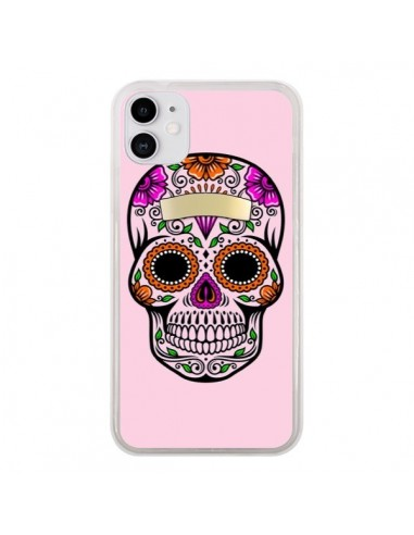 Coque iPhone 11 Tête de Mort Mexicaine Rose Multicolore - Laetitia