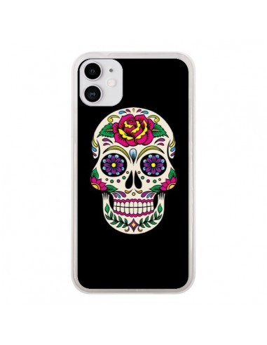 Coque iPhone 11 Tête de Mort Mexicaine Multicolore Noir - Laetitia