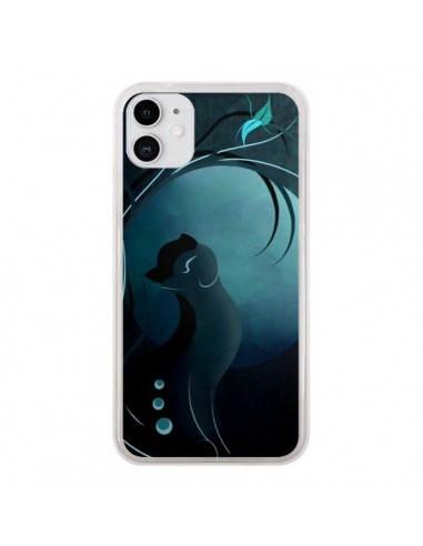 Coque iPhone 11 Chat Clair de Lune Moonlight - LouJah