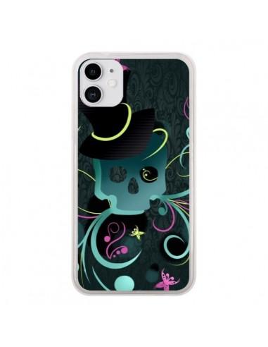Coque iPhone 11 Tête de Mort Papillon Skull - LouJah