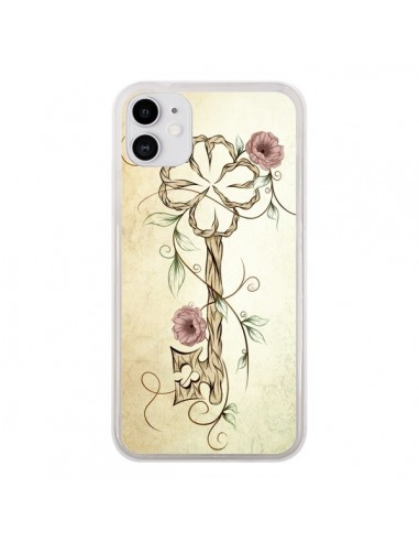 Coque iPhone 11 Key Lucky Clef Flower - LouJah