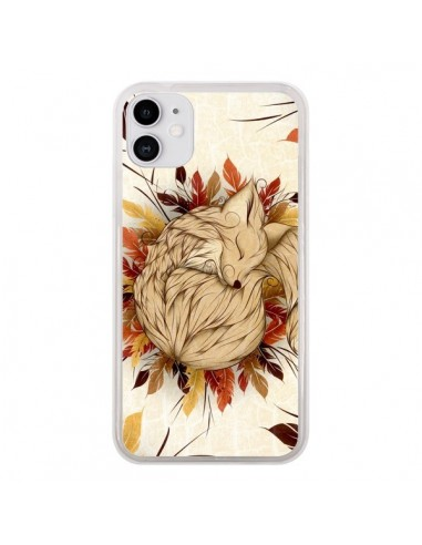 Coque iPhone 11 Night Fall Renard Automne - LouJah