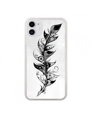 Coque iPhone 11 Feather Plume Noir et Blanc - LouJah