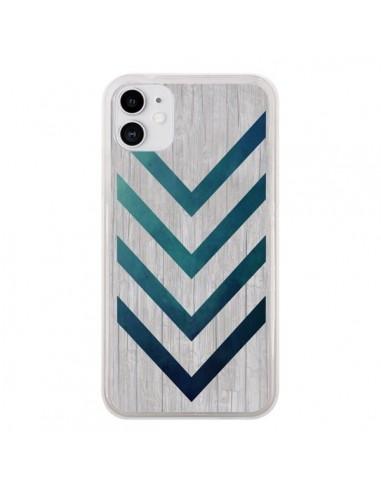 Coque iPhone 11 Blue Arrow Wood Fleche Bois - LouJah