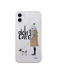 Coque iPhone 11 I don't care Fille Chien Transparente - Lolo Santo