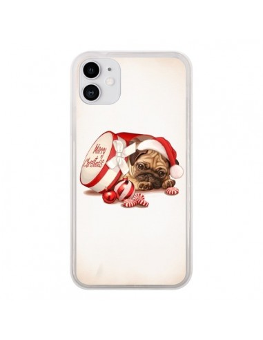 Coque iPhone 11 Chien Dog Pere Noel Christmas Boite - Maryline Cazenave
