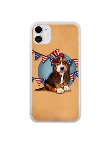 Coque iPhone 11 Chien Dog USA Americain - Maryline Cazenave
