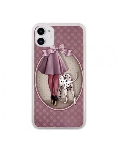 Coque iPhone 11 Lady Chien Dog Dalmatien Robe Pois - Maryline Cazenave