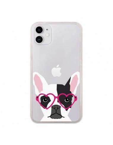 Coque iPhone 11 Bulldog Français Lunettes Coeurs Chien Transparente - Pet Friendly