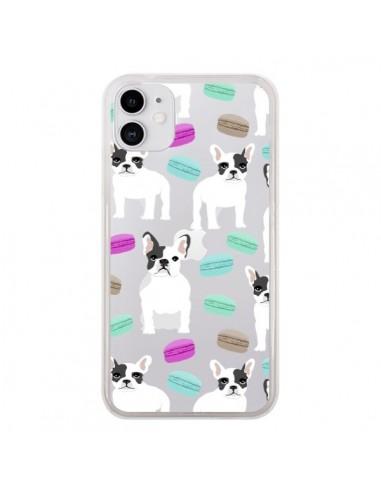 Coque iPhone 11 Chiens Bulldog Français Macarons Transparente - Pet Friendly