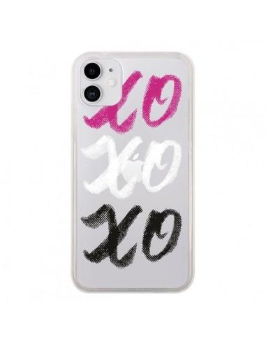 Coque iPhone 11 XoXo Rose Blanc Noir Transparente - Yohan B.