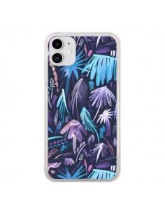 Coque iPhone 11 Brushstrokes Tropical Palms Navy - Ninola Design