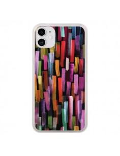 Coque iPhone 11 Colorful Brushstrokes Black - Ninola Design