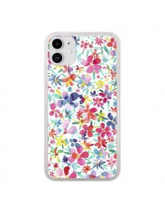 Coque iPhone 11 Colorful Flowers Petals Blue - Ninola Design