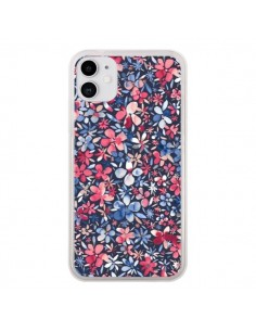 Coque iPhone 11 Colorful Little Flowers Navy - Ninola Design