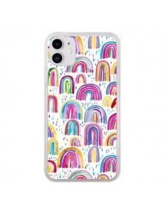 Coque iPhone 11 Cute Watercolor Rainbows - Ninola Design