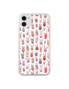 Coque iPhone 11 Cute Winter Reindeers - Ninola Design