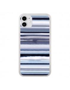 Coque iPhone 11 Degrade Stripes Watercolor Navy - Ninola Design