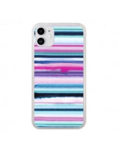Coque iPhone 11 Degrade Stripes Watercolor Pink - Ninola Design
