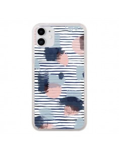 Coque iPhone 11 Watercolor Stains Stripes Navy - Ninola Design
