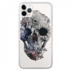 Coque iPhone 11 Pro Floral Skull Tête de Mort Transparente - Ali Gulec