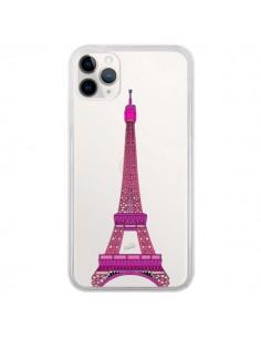 Coque iPhone 11 Pro Tour Eiffel Rose Paris Transparente - Asano Yamazaki
