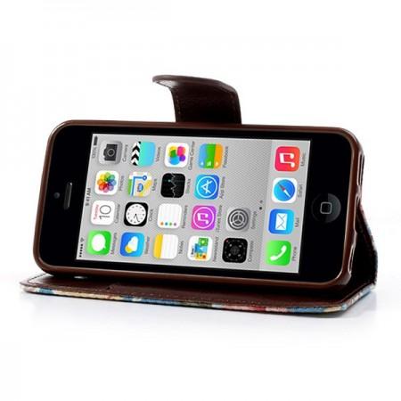 Etui Portefeuille en Jean à Fleurs pour iPhone 5C